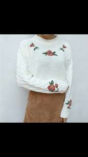 (PO) embroidery floral knit pullover