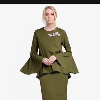 [BNWT]Lubna Beaded Set Kurung (Olive Green)