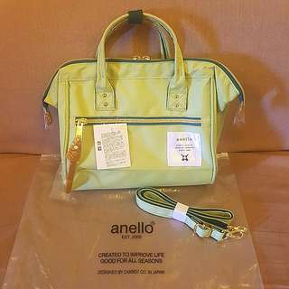 💯Authentic Anello Mini Boston Limited Green Colour Sling Bag High Density Canvas Brand New with Tag from Japan!
