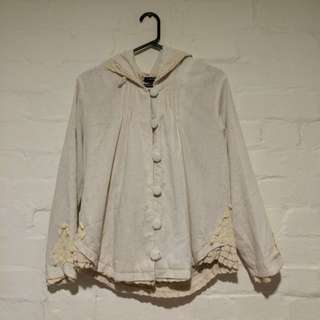 White Laced Linen Renaissance Hooded Jacket