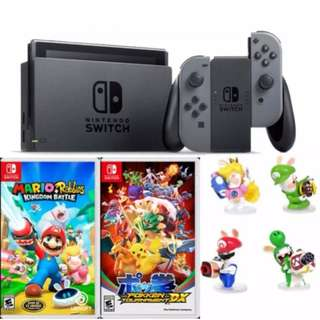 BNIB SEALED LOCAL SET MAXSOFT Nintendo Switch Console (Grey) bundled with Mario + Rabbids Kingdom Battle, Pokken Tournament DX, and Switch Starter Kit Mario Icon Edition + additional freebies!
