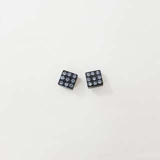Light Blue Dice Diamond Studs