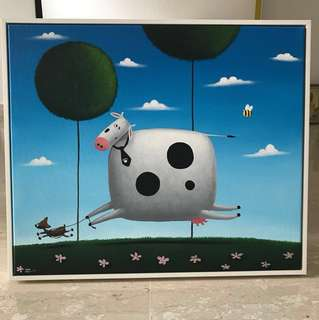 Framed Painting - Cow Walking a Dog!