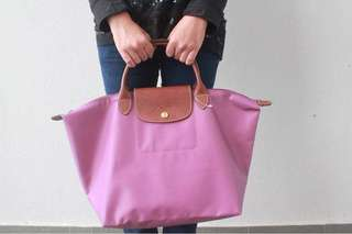 Authentic Longchamp In Purple medium short handle