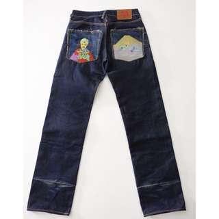 🚚 赤猿 RMC 深藍色 刺繡 直筒牛仔褲 31