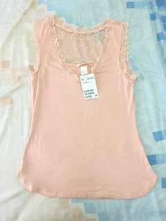 Vneck lace nude color xs fit S bahan stretch adem