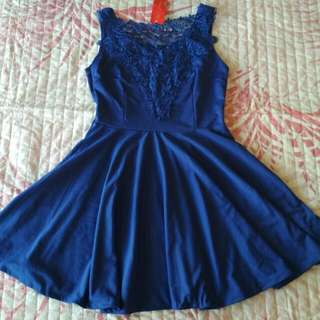 Blue lace flowing dress