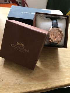 Coach watch with leather strap