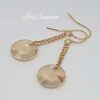 14K Gold Filled Swarovski Dangling Earrings