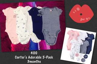 Pre-Loved Carter's Adorable 5-Pack Onesies (3months)