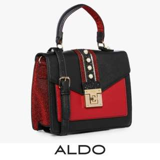 ALDO 2-TONED TOP HANDLE SATCHEL - BLACK-RED