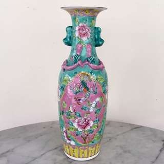 A Famille Rose Green-Ground Vase (Peranakan)