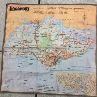 1970's handkerchief Singapore Map