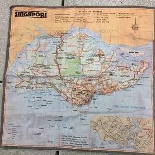 1970's handkerchief Singapore Map