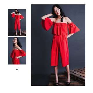 FASH MOB FM AMARYLLIS JUMPSUIT IN RED