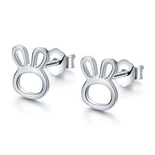 Silvery Rabbit Stud Earrings