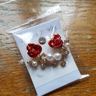 Red rose with pearl Earrings wedding dinner