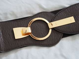 Vintage elastic waist belt circle buckle