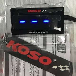 KOSO TEMP TEMPERATURE METER SUPER SLIM STYLE BLUE OR RED LIGHTS