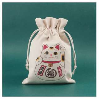 Fortune Cat Drawstring Bag