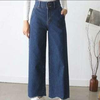 (降價)牛仔寬褲 顯瘦 牛仔褲 淺藍色