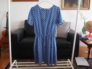 Atmos & Here Blue Polkdot Dress size 8