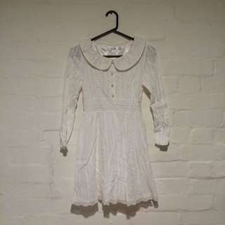 Lace-Detail Pearl-Buttoned Pure White Sweet Dress