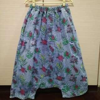 文青掛 古典印花刷破鬆緊帶腰頭 牛仔褲裙