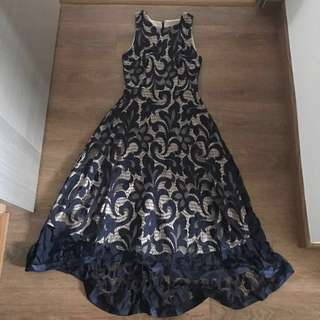 Asymmetric Navy Lace Dress (Fayth)