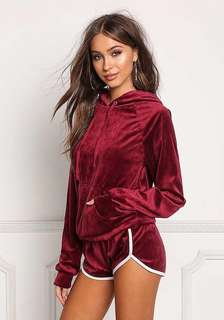 Two piece velvet sport outfit