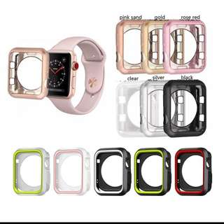 Series 1&2&3 Soft Silicone Bumper for Apple Watch Case 38mm 42mm Fashion Plated TPU Protective Cover for iWatch