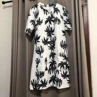 BRAND NEW COLORBOX b&w palm trees patterned dress