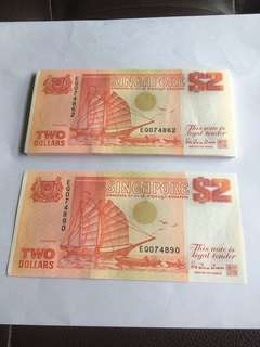 Spore Ship Series Orange $2 notes 29 Run