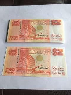 Spore Ship Series Orange $2 notes 29 Run