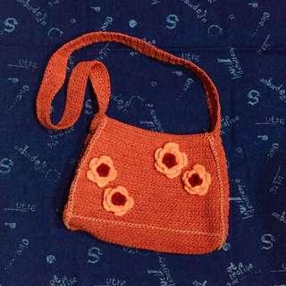 橘色小花編織側背包 古著包 可愛小包