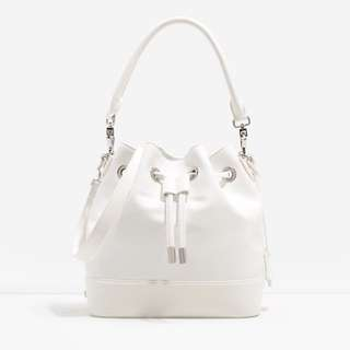 Charles And Keith White Bucket Bag