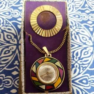 Sorna vintage swiss necklace watch