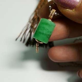 18k金鑽鑲滿綠翡翠桶珠,可直接配帶的