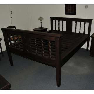 Authentic Burma Teak Wood Antique Colonial Queen Sized Bed
