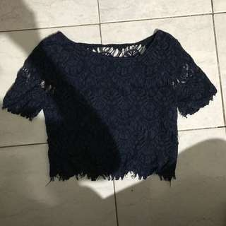 Lace royal blue crop top