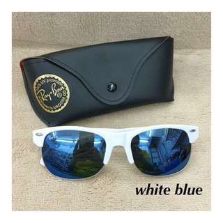 New Sunglasses white / blue with free pouch