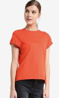 Topshop roll back tee in radiant red