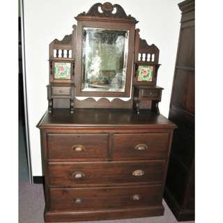 Authentic Burma Teak Wood Antique Colonial Dressing Table
