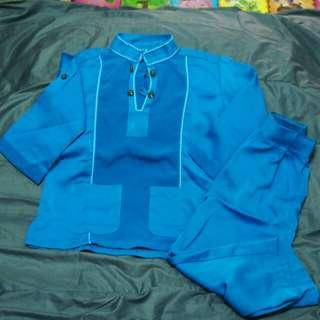'blue' baju melayu kanak- kanak