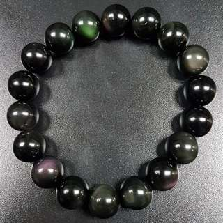 水晶 crystal 彩虹黑曜12mm