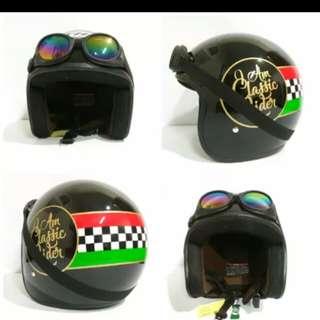 Helmet Bogo retro classic + goggles