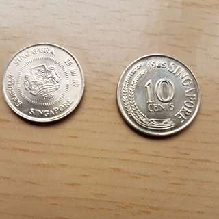 1st series 10cts & 2nd series 10cts coins in unc condition