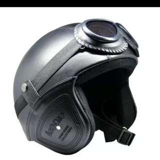 Helmet retro leather classic + goggles