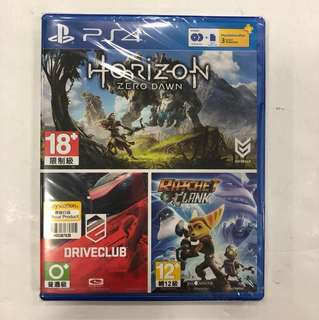 PS4 HORIZON + DRIVECLUB + RACHET CLANK
