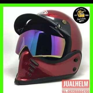 Helmet retro classic kiwi maroon